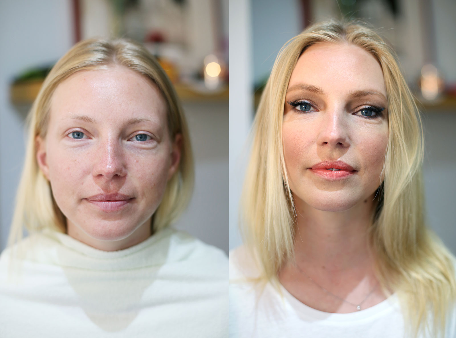 Before and after - how make up makes a difference