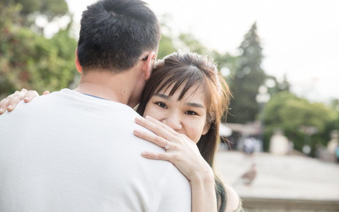 Surprise marriage proposal in Plaza España