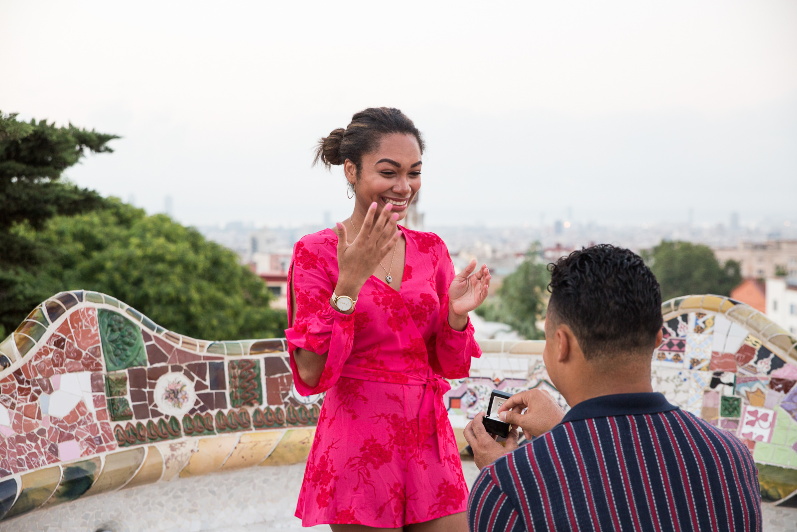Marriage proposal in Barcelona Park Guell | Natalia Wisniewska Photography
