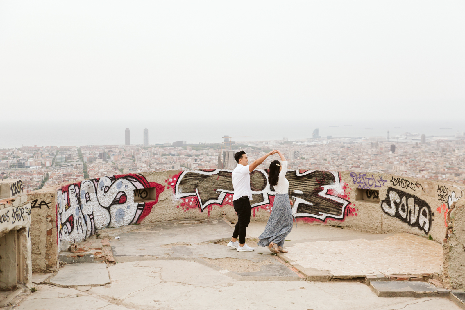 Surprise proposal in Barcelona at the Bunkers del Carmel   Natalia Photography