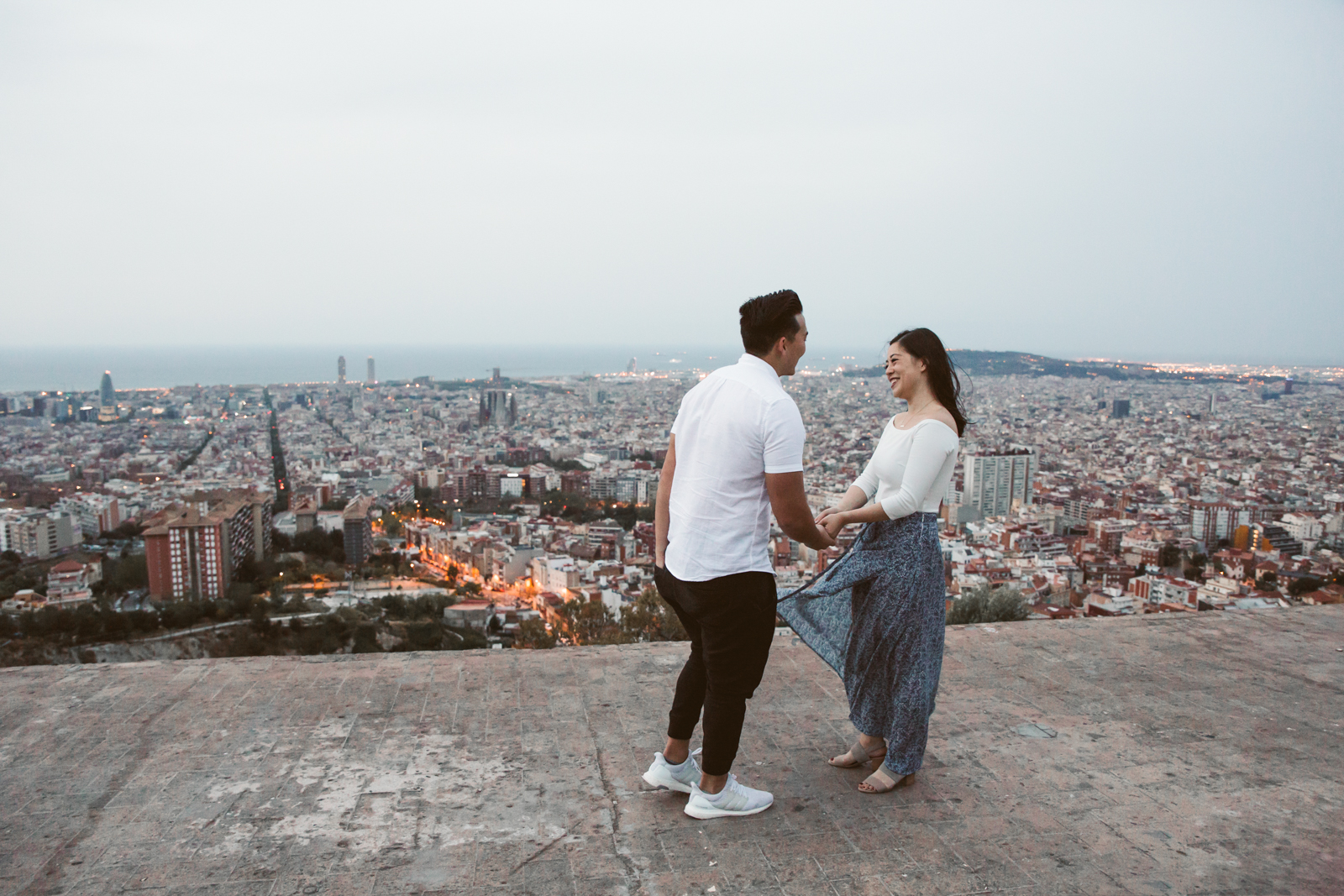 Marriage proposal in Barcelona at Bunkers del Carmel   Natalia Photography